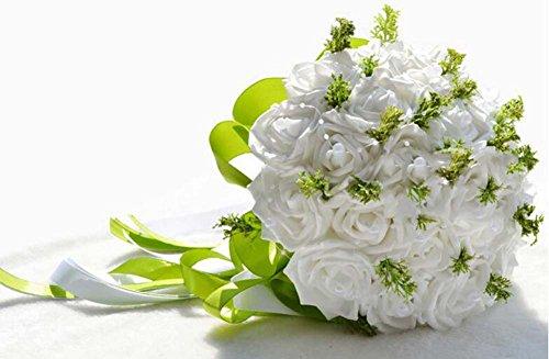 Simulation mousse Roses mariée tenant des fleurs bouquet de mariage fleur artificielle cadeau de mariage ( Color : Blanc )