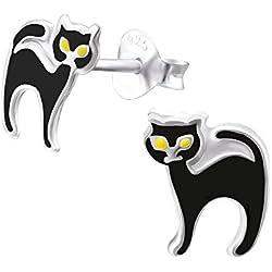 Pendiente de plata Gato negro