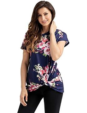 Camiseta de manga corta, diseño floral azul marino con nudo y camiseta de tirantes para fiestas, estilo informal...