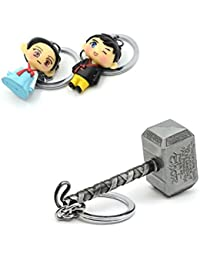 Three Shades Thor Hammer Marvel Avengers Superhero Silver Design Key Chain & Traditional Couple Keychain (Bike...