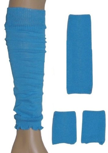 Preisvergleich Produktbild Neon Sweatband / Headband,  2 Wristbands & Legwarmers Set 1980s Fancy Dress (Neon Blue) by Blue Planet Online