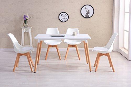 e tisch wei  matt CrazyGadget® – Möbel-Set Tulip im Retro-Design mit Tisch und Stühlen, Massivholzstuhlbeine, gepolstert für Büro / Lounge / Küche – Weiß