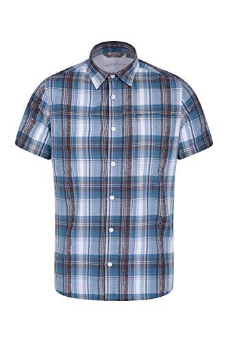 Mountain Warehouse Holiday Herren-Kurzarm Baumwollhemd - Pflegeleichtes Sommerhemd, Leichtes Freizeithemd, Oberteil Kurzarm-Shirt, Knopf-Hemd - Für Camping Hellblau XX-Large