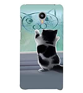 PrintVisa Stylish Cool Girl Cat 3D Hard Polycarbonate Designer Back Case Cover for Meizu M3 Note