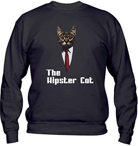 Felpa Girocollo BASIC top qualità top vestibilità - THE HIPSTER CAT divertenti humor MADE IN ITALY Nero