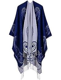 Cape Poncho Ample Femme Tricot Cachemire d imitation Douce Tartan Rétro  Foulard Chaud Ouverture Large Châle Longue Hiver Automne… 5e2db0c369e