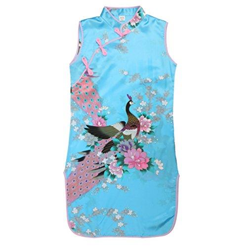 Vestido Floral Del Pavo Real Chino de Qipao Cheong Clásico Elegante Regalo Banquete Fiesta Verano para Niñas Chicas - 8, Azul