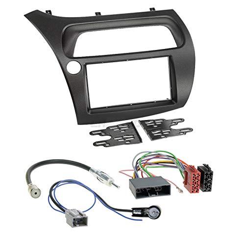 Carmedio Honda Civic 8 06-12 2-DIN Autoradio Einbauset in original Plug&Play Qualität mit Antennenadapter Radioanschlusskabel Zubehör und Radioblende Einbaurahmen schwarz