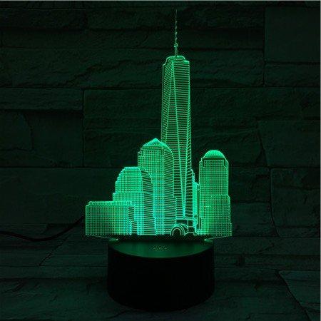 3d Nachtlicht Lampe,World Trade Center Usb 3D Led Nachtlicht Veilleuse Lampe Dekoration Kinder Baby Geschenk Berühmte Gebäude Tischlampe Nacht Neon