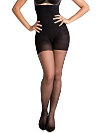 Spanx Womens Luxe High-Waisted Body-Shaping Sheer Slimming Tights 15 Denier