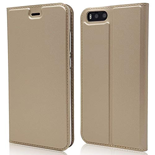 Sangrl Funda para Xiaomi Mi Note 3, Libro Cuero de la PU Leather Case Soporte Plegable Premium Flip Case para Xiaomi Mi Note 3 - Gold