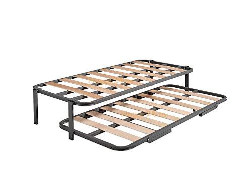 Cama Nido con 2 somieres estructura reforzada doble barra superior + patas-90x190cm