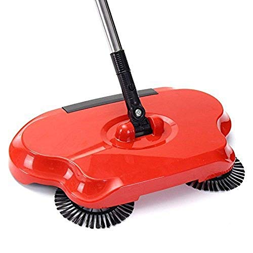 Teesta Automatic Hand Push Sweeper 360-Degree Built-in Rotating Brushes Automatic Sweeping Machine,Dustpan and Trash Bin 3 in 1 Floor Cleaning System