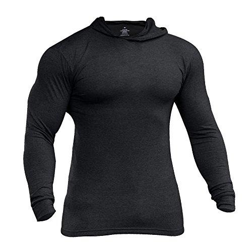 Musclealive Herren Lange Ärmel Kapuzenpullover Dehnbar Leicht Men Sweatshirts Polyester und Spandex -