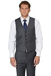 Ermenegildo Zegna Cloth Men`s Regular Fit Grey Sharkskin Waistcoat 46r
