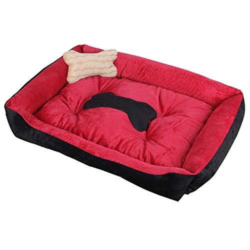 Bequemer Hundehaushundereisekiste Hundematte Herbst Winter Große Hundehütte 4 Saison Hundebett Small Medium Hund Bissfeste Katze Kennel Pet Sofa (Color : Black+red, Größe : XL)