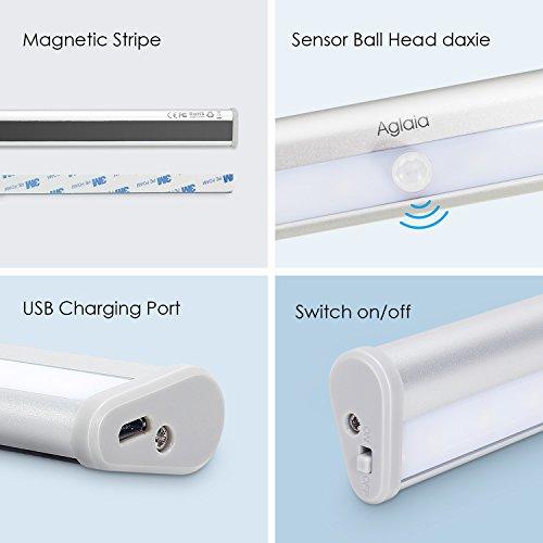 comprare on line Aglaia Lampada Armadio a 20 LED con Sensore Movimento, Batteria Ricaricabile 1000mAh e Striscia Magnetica per Scale, Corridoio, Guardaroba, ecc. prezzo