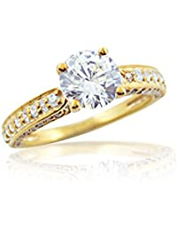 Silver Dew 925 Pure Silver Yellow Gold Plated CZ Diamond Fancy Ring For Women