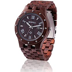 ZEITHOLZ wooden watch / Bewell REICHSTÄDT / 100% Sandalwood / rivet case/ natural product / featherweight / hypoallergenic / sustainable / comfortable to wear / date display