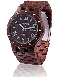 Reloj de madera ZEITHOLZ / Bewell REICHSTÄDT / Sándalo 100% / caja de remaches/ producto natural / peso pluma / hipoalergénico / sostenible / fácil de usar / fecha en pantalla