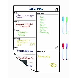Magnetisches Whiteboard Kühlschrank-Kalender von SmartPanda - Nützlicher Menü-Planer, Memo oder wöchentliche Einkaufsliste für Erwachsene und Kinder - Notizbrett - auf Deutsch