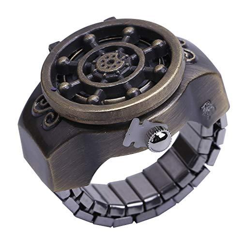 FENGCLOCK Vintage Rudder Finger Uhr Clamshell Ring Uhr, antike Unisex einstellbar dehnbar Armband Finger Uhren Ring Uhr, Männer Retro Finger Uhr,Bronze