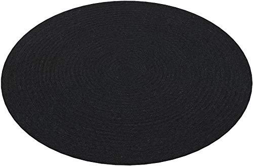 HAMID Alfombra Yute Alhambra Color Negro- Alfombra Redonda 100% Fibra de Yute (Negro, 100x100cm)