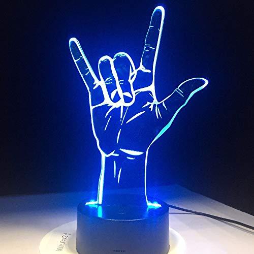 3D Lampe Ich liebe dich Gebärdensprache LED Hologramm Nachtlicht USB betrieben romantische Valentinstag Party Dekoration