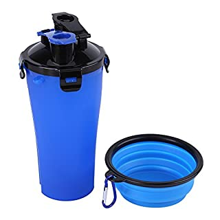 Aoxsen [2-in-1] Pet Food & Water Feeder Travel Bottle Cup with Collapsible Pet Bowl Dog Feed Bowl Cat Food Storage Container Puppy Feeder Drinking Portable Dry Food Dishes Pets Feeding Cup