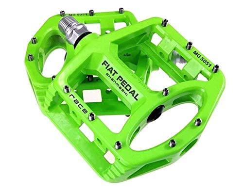Evetin Ultra-Light Plattform Mountainbike/MTB/Flat Pedale, Magnesium Trekking Pedale Fahrrad mit Achsendurchmesser 9/16 Zoll für Universell BMX Mountain Bike Rennrad Trekkingrad 5051-1 (Grün)