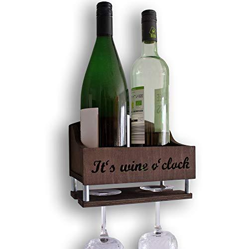 INEXTERIOR Weinregal mit Haltern für Weingläser - aus gebeiztem Birkenholz - Dunkelbraun - 15x20x14cm (HxBxT) - in Deutschland gefertigt - Wand Holz hängend Glas Flasche (Dunkelbraun)
