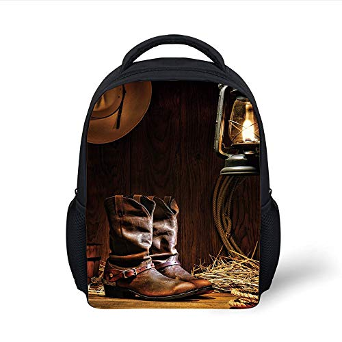 Kids School Backpack Western,Authentic Western Riding Tools Shoes in Vintage Ranch Barn with Nostalgic Lantern Print Decorative,Brown Plain Bookbag Travel Daypack -