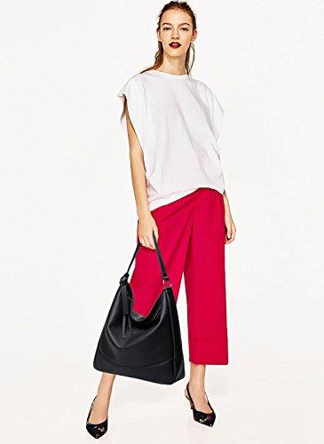 NICOLE&DORIS Elegant Stilvoll Tote Damen Handtaschen Umhängetasche Henkeltaschen Crossbody Bag Schultertaschen Groß Tasche PU Schwarz Schwarz
