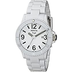 Invicta Ladies Diver Resin Angel Monotone White Analogue Watch 1207 with High-Impact Polymer Case and Band