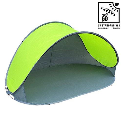 Pop Up Strandmuschel mit Boden UV-Schutz 40 oder 60 – 220 x 120 x 100 – cm in verschiedenen Farben (Grau / Grün UV60) - 2