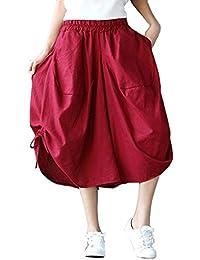 Elegantes Moda Pantalones De Tela Mujer Verano con Cordón Elastische Taille  con Bolsillos Bandage Color Sólido 50de2bc19b69