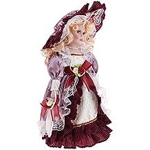 8139bd251018 MagiDeal Figure Gente Bambola Porcellana Annata con Vestiti Abbigliamenti  Indumenti per Museo - Rosso Vintage