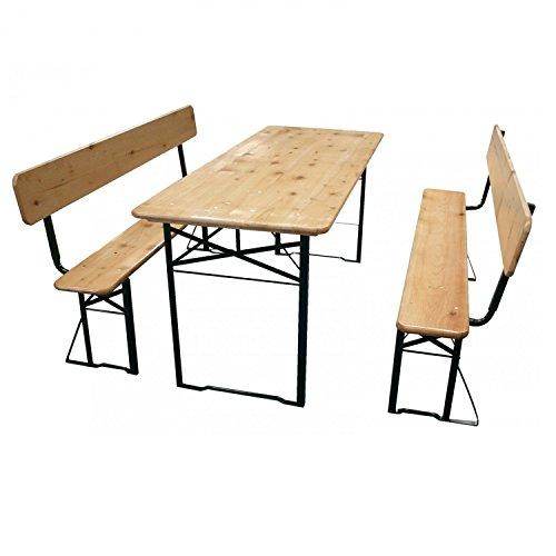 Jalano Bierzeltgarnitur klappbar, 3 Teilige Sitzgruppe - klappbarer Biertisch und Bänke mit...