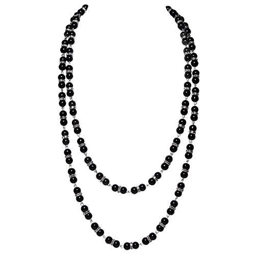 Kostüm Schwarz Gatsby Girl - ArtiDeco 1920s Damen Halskette Knötchen Hochzeit Braut Schmuck Accessoires 20er Jahre Imitation Perlen Kette Gatsby Kostüm Zubehör (Schwarz)