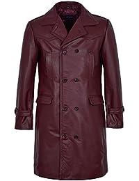 Men's 'WWII GERMAN U-BOAT' CHERRY ANILINE Cowhide Leather Marine Jacket Coat
