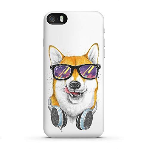 artboxONE Apple iPhone SE Premium-Case Handyhülle Siba Inu in Glasses von Nikita Korenkov