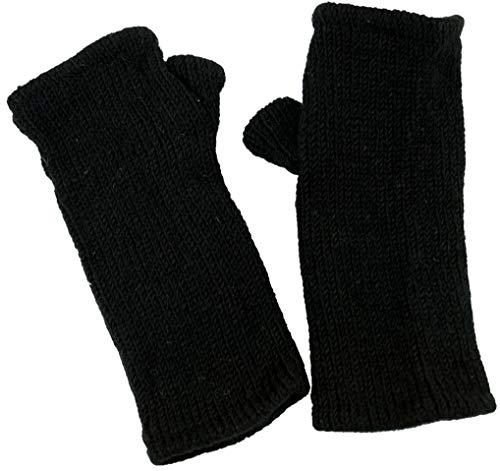 Guru-Shop Handstulpen, Wollstulpen aus Nepal, Herren/Damen, Schwarz, Wolle, Size:One Size, Handstulpen Alternative Bekleidung -