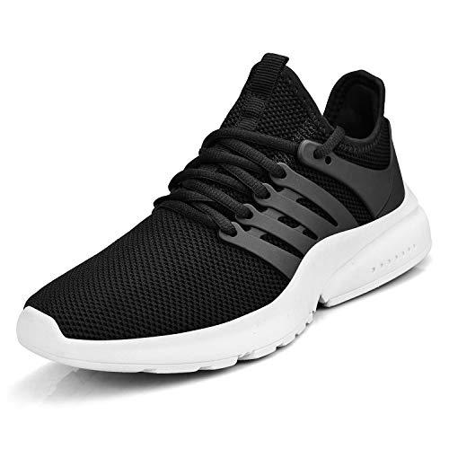 ZOCAVIA Damen Herren Schuhe Turnschuhe Ultraleichte Laufschuhe Atmungsaktiv Bequeme Outdoor Wanderschuhe Schwarz/Weiß 42