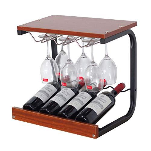 X-JIU Home Europäische Kreative Arbeitsplatte 4 Flaschen Wein, Weinregal Weinregal, modernes Zuhause Wohnzimmer Handwerk dekorative Wein Set (Farbe : Teak Color)
