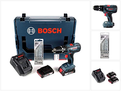 Bosch GSB 18-2-Li Plus Professional Akku Schlagbohrschrauber mit 2 x 2 Ah Akkus + Ladegerät + L-BOXX + Bosch 5 tlg. Steinbohrer Set Impact 4-10 mm
