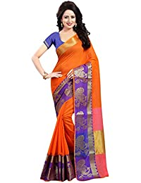 SATYAM WEAVES WOMEN'S ETHNIC WEAR COTTON ORANGE COLOUR SAREE WITH BLOUSE PIECE.