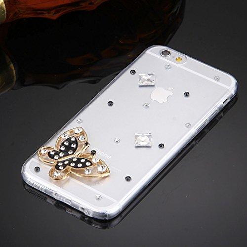 Wkae Case Cover Für iPhone 6 &6s Diamant verkrustete Glas-Katze-Perlen-Bell-Muster-weiche TPU-Schutzhülle Cover-Rückseite ( SKU : IP6G5600B ) IP6G5600J