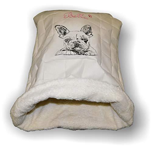 LunaChild Handmade Hunde Kuschelhöhle Hundebett Schlafsack Kuschelsack Französische Bulldogge 1 Name Wunschname bestickt Snuggle Bag S M L XL vielen Farben personalisiert persönliches Geschenk Unikat