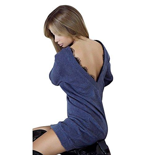 Koly moda femminile abito manica lunga senza maniche pizzo pizzo giuntura pullover senza schienale dress vestito manica vestiti linea a swing abito maglietta a quadri camicia abito (dark blue, s)