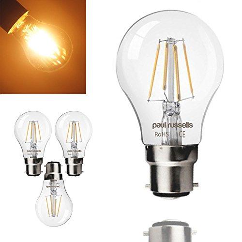 3x Russel Paul Vintage Stil Bajonettsockel LED Filament 4W GLS Antik Globe A60Licht Dekorieren Home 360Beam Lampe B22BC 2700K warm weiß 40W Glühlampe Ersatz [3Stück Leuchtmittel]